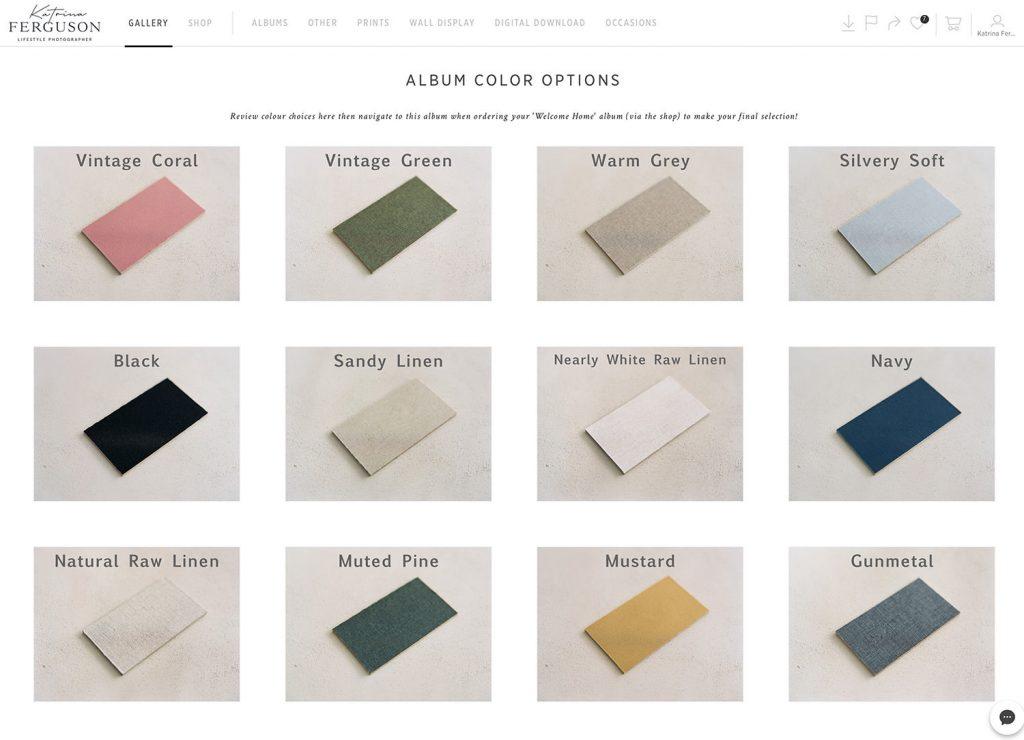 Selection of linen fine art album colour swatches