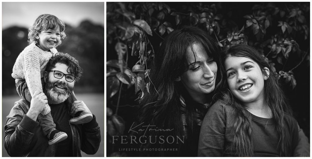 The Moyle family of Beaumaris enjoying their home session photos, father and son, mother and daughter