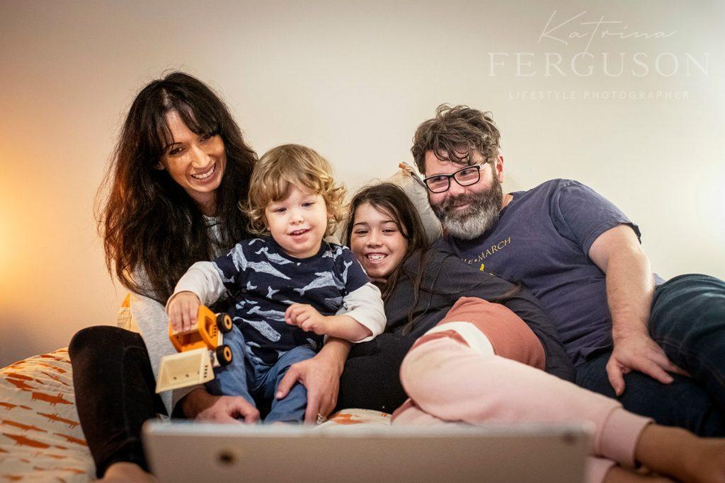 Moyle family during their home session photos with Katrina Ferguson