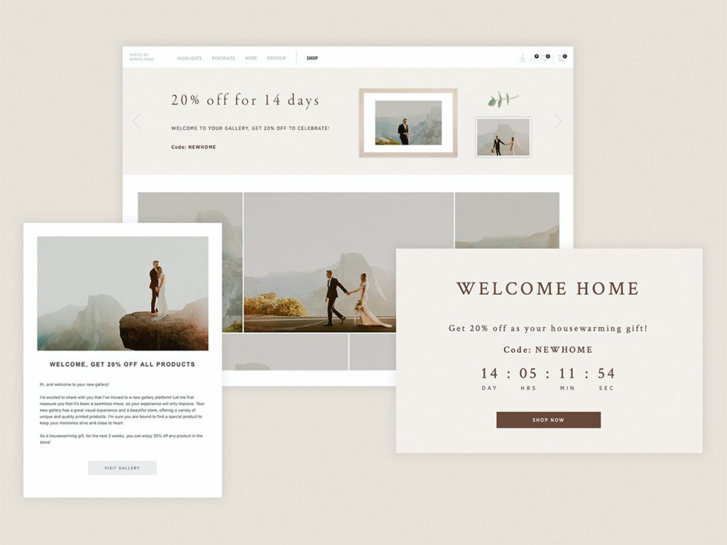 Pic-Time gallery migration app email and banners