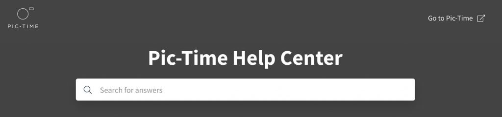 Pic-Time help centre banner and search bar