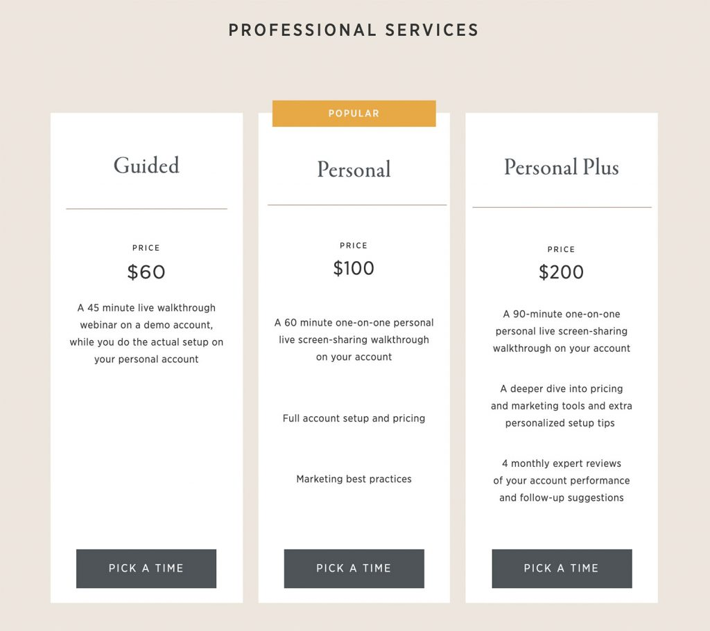 Pic-Time professional service detail and pricing